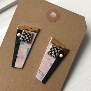 Handmade vintage painted ceramic 80s earrings fun